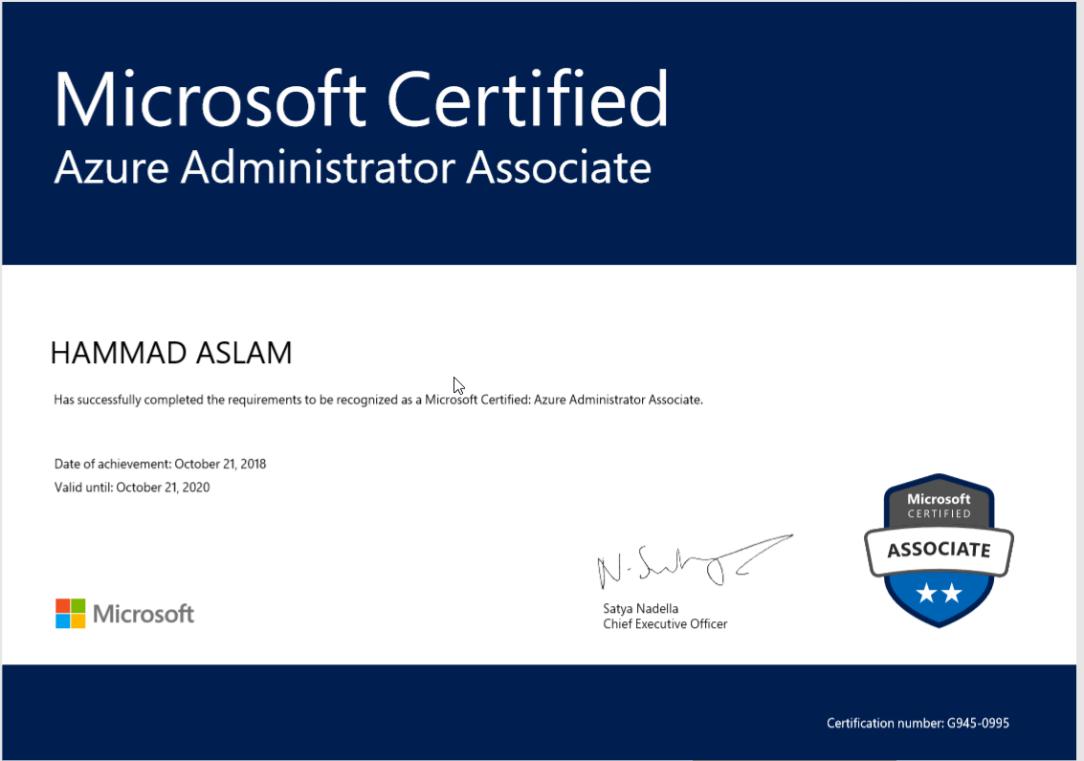 Azure Admin Certificate